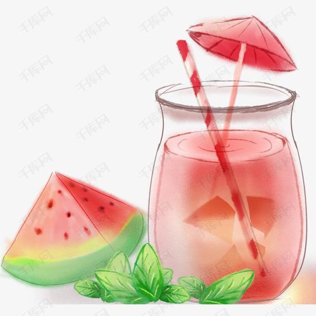 夏天手绘西瓜汁饮品插画