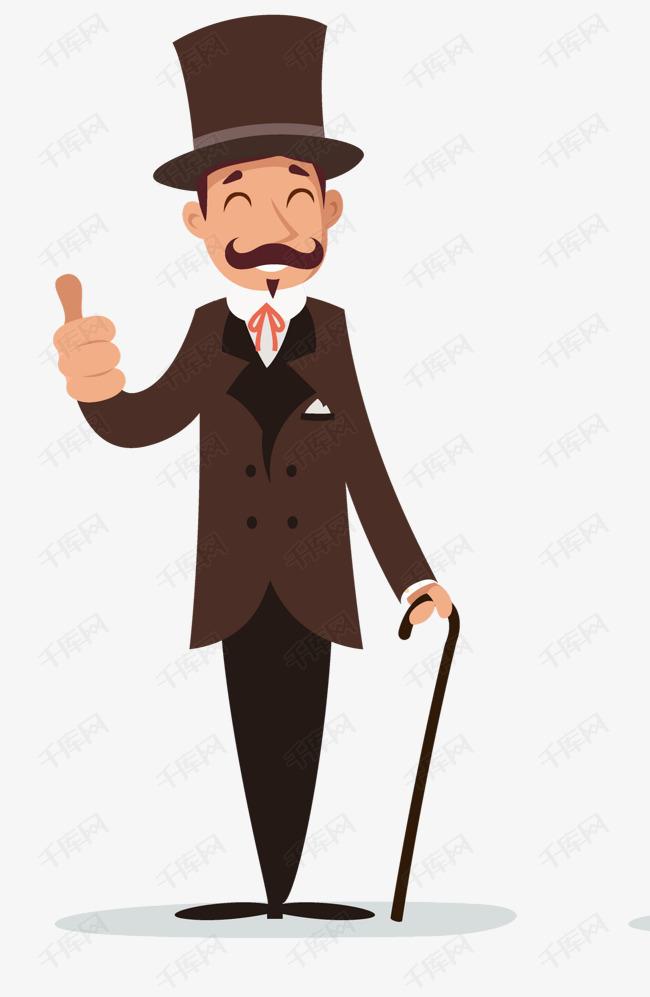 手绘卡通贵族绅士人物的素材免抠卡通人物戴礼帽拿文明棍手杖卡通绅士ppt制作设计海报设计男爵贵族贵族礼仪绅士风度绅士拐杖图片