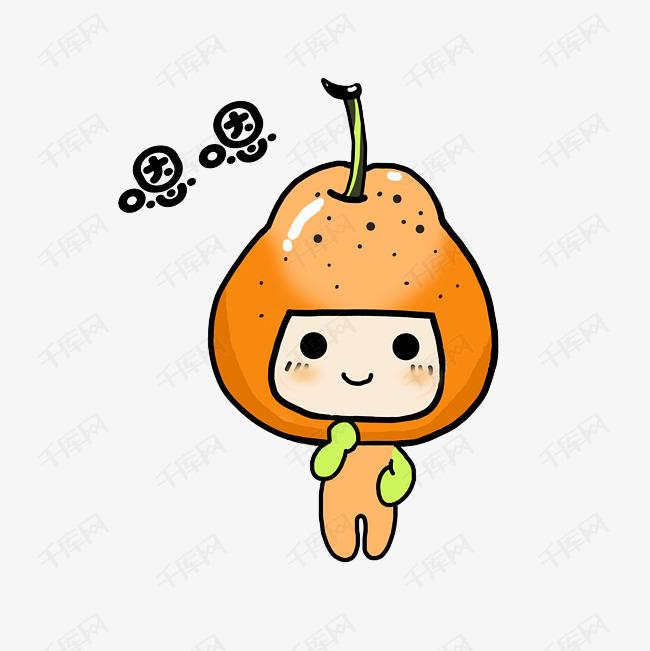 水果梨子卡通表情包嗯嗯插画图片