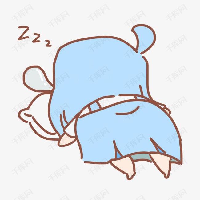 呼呼大睡表情蓝色女孩插画图片