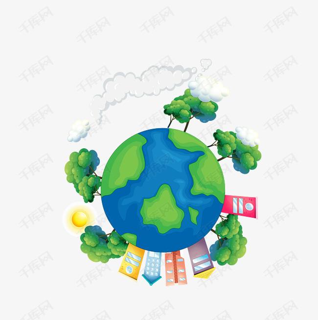 矢量卡通绿色环保地球素材图片免费下载 高清装饰图案psd 千库网 图片编号