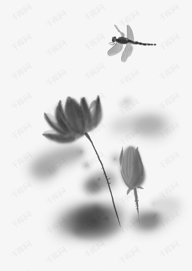 中国水墨手绘蜻蜓素材图片免费下载 高清psd 千库网 图片编号10369481
