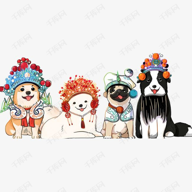 2018春节小狗传统吉祥物插画设计
