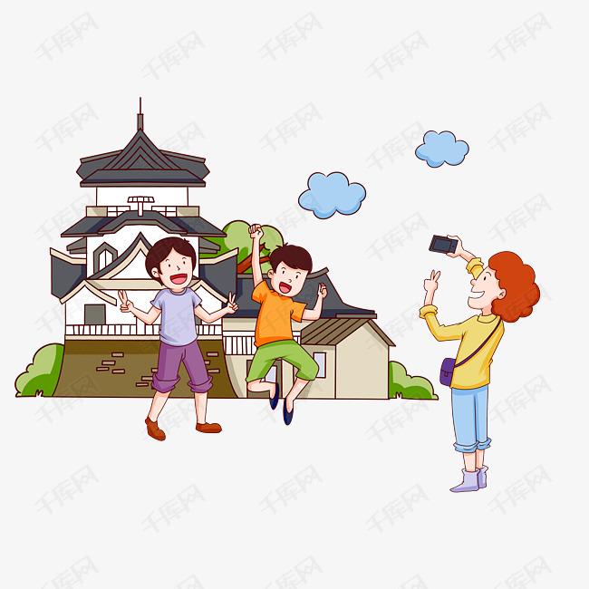 手绘大阪旅游拍照插画的素材免抠童话故事插画元旦插画免费拍照卡通旅游拍照人物地标建筑旅游景点矢量插画风景名胜大阪手绘拍照旅游日本自拍