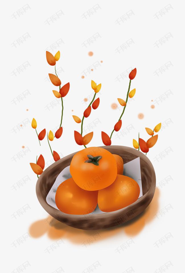 立秋手绘金黄的柿子素材图片免费下载 高清psd 千库网 图片编号10959803
