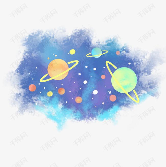 星球银河星空卡通手绘素材图片免费下载_高清