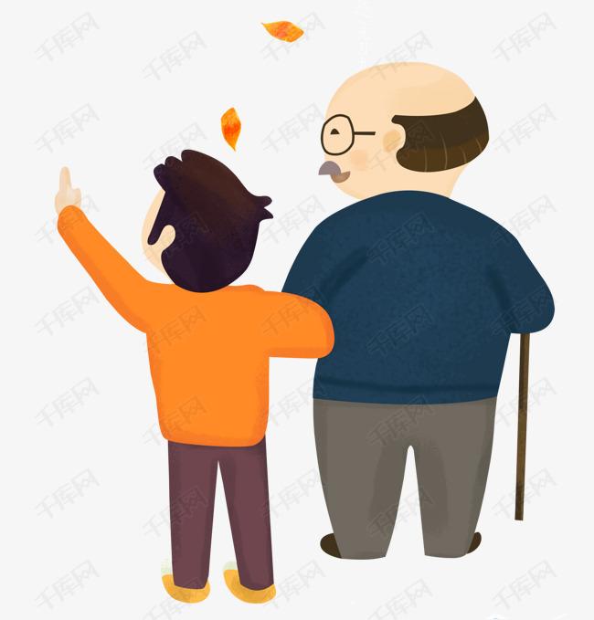 手绘卡通世界步行日爷爷和孙子散步素材图片免