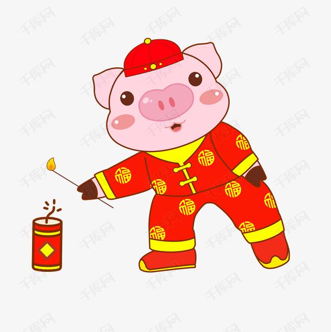 2019手绘卡通放鞭炮猪年形象图片