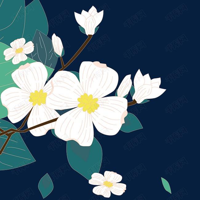 矢量原创手绘白色花朵png原创素材下载的素材免抠原创手绘矢量花朵原创手绘花朵叶子飘零白色花朵矢量手绘叶子梨花白色绿叶绿色黄色