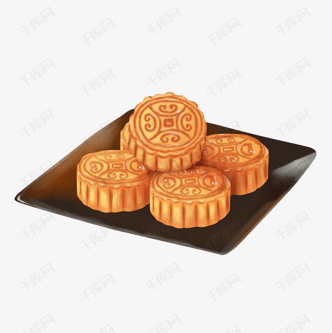 中秋节手绘一盘月饼的素材免抠中秋节促销海报月饼包装设计中秋节广