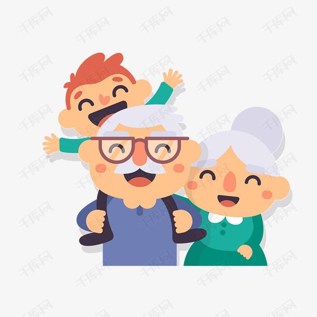 手绘卡通老人和孙子素材图片免费下载 高清png 千库网 图片编号11214300