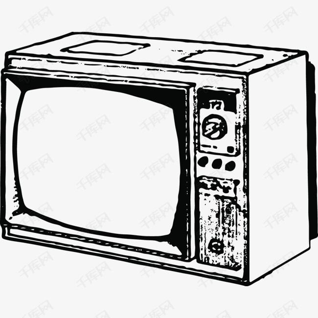 侧面的黑白电视手绘素材图片免费下载 高清psd 千库网 图片编号11263311图片