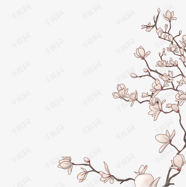 手绘桃花古风图片_彩铅手绘桃花