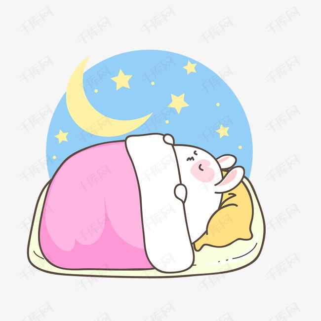 可爱卡通睡觉的萌萌哒兔子图片