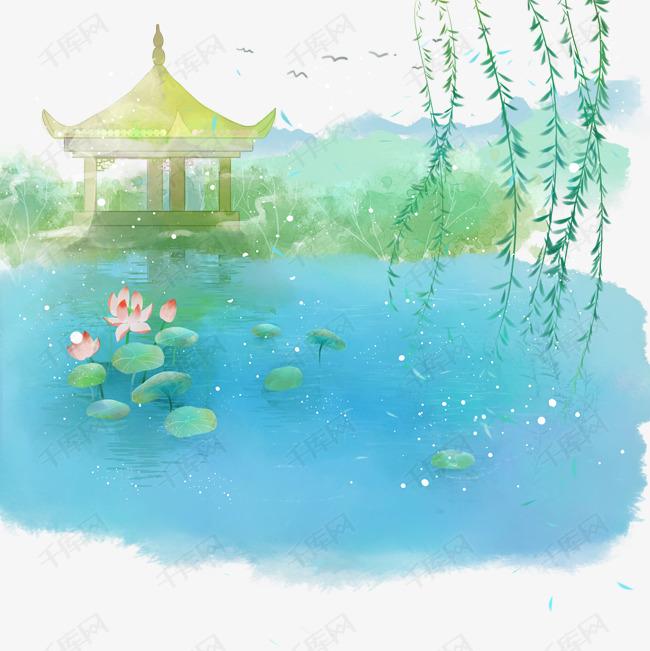 水彩清新古风手绘小亭子柳叶荷叶荷花池塘pn