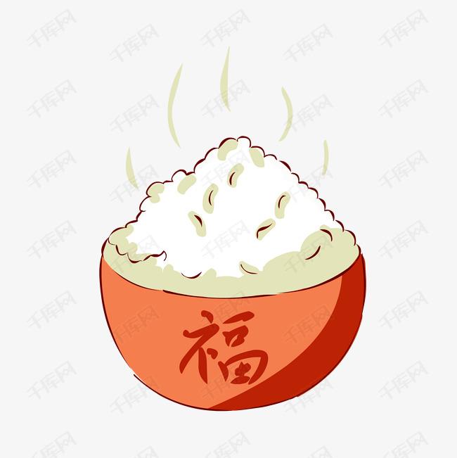 冬季热气腾腾的简笔画小清新美食热米饭素材图