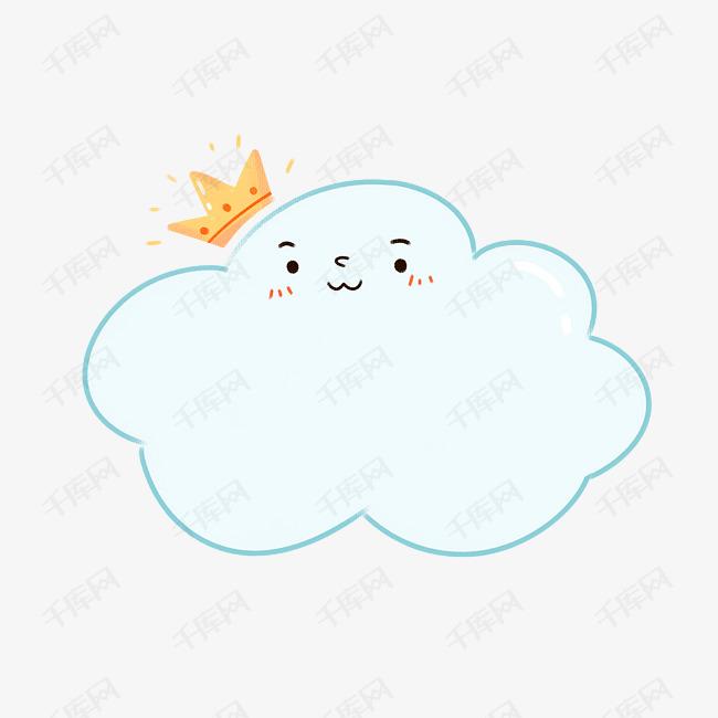 手绘卡通小清新可爱浅蓝色白云边框设计