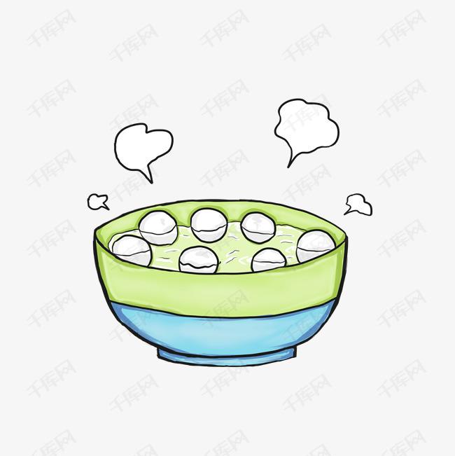 卡通手绘一碗汤圆插画的素材免抠手绘室内家具免费吃汤圆元旦插画中国传统小吃卡通手绘球状食品元宵节糯米粉元宵汤团汤圆美味美食食物馅料汤
