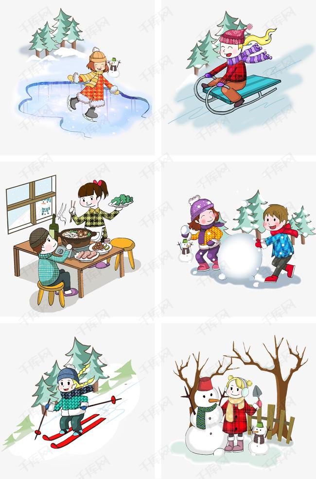 冬季冬天卡通人物活动场景合集图片