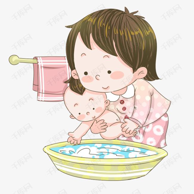 手绘母亲给婴儿洗澡插画图片
