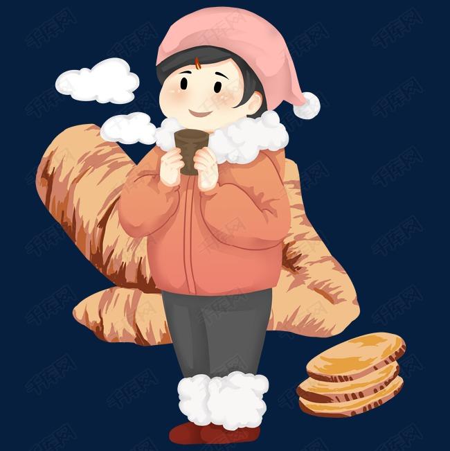 卡通手绘冬季保暖的人物图片