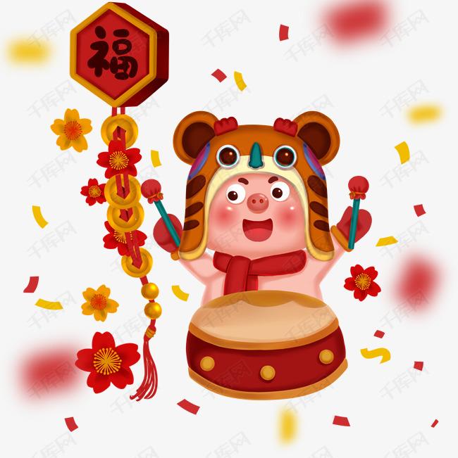 2019新年红色喜庆卡通猪 敲鼓