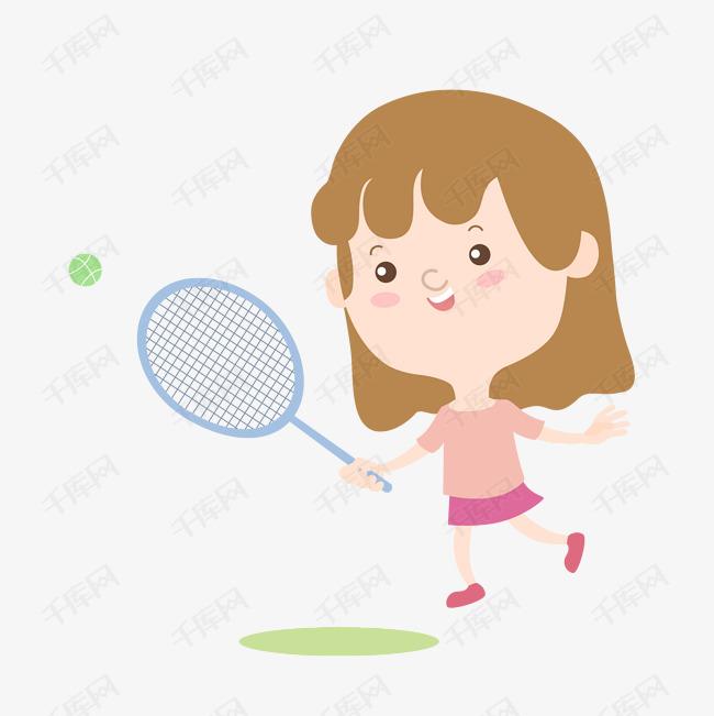卡通可爱矢量项目运动女孩羽毛球图片