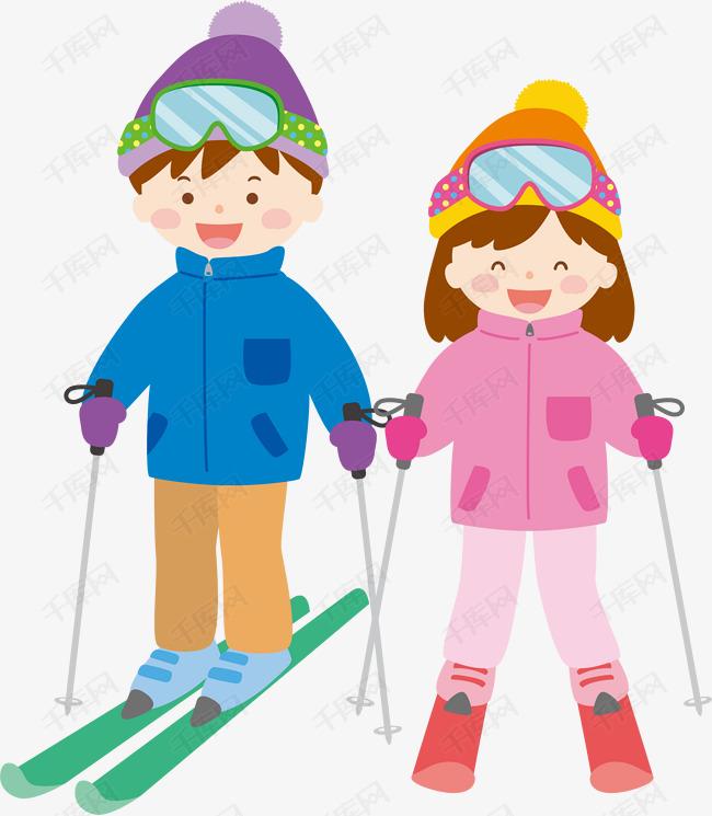 冬天冬季系列卡通滑雪图片