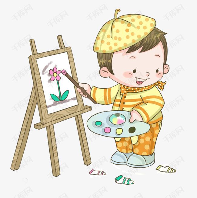 手绘卡通可爱小朋友画画插画