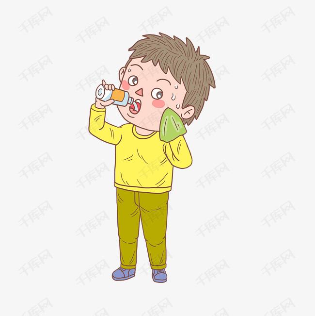 卡通手绘人物喝水擦汗男孩