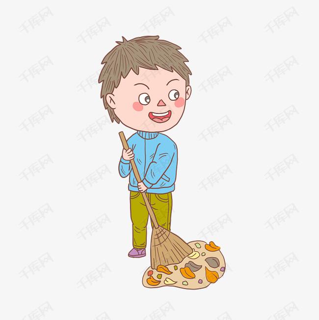 卡通手绘人物扫地男孩素材图片免费下载 高清psd 千库网 图片编号11493826