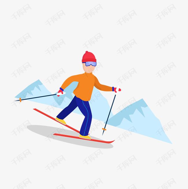 矢量滑雪运动卡通可爱男孩图片