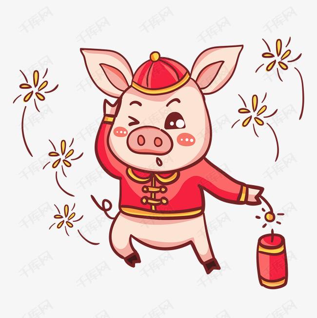 2019春节手绘卡通猪