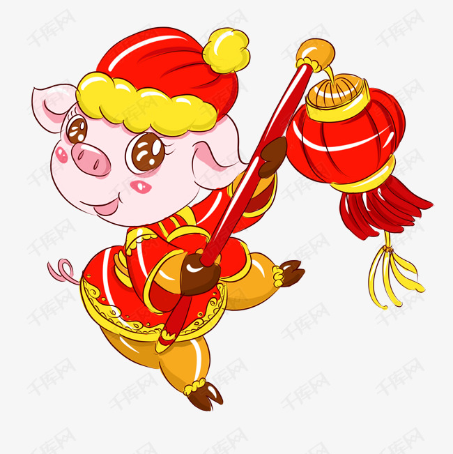 2019猪年新年红红火火手绘卡通吉祥猪猪图片