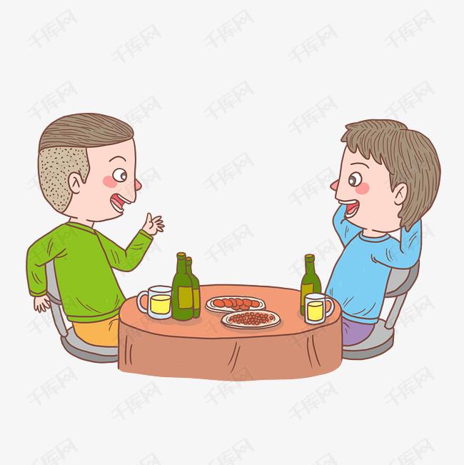 卡通手绘人物朋友聊天吃饭素材图片免费下载 高清psd 千库网 图片编号11509260