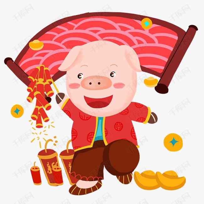 猪年鞭炮手绘卡通人物png素材图片免费下载_高清psd_千库网(图片编号