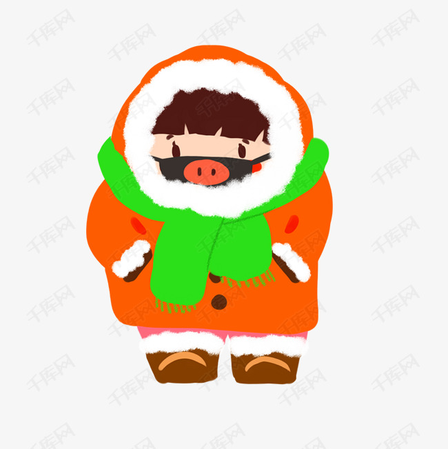 寒冷冬季保暖戴口罩女孩卡通人物png图片