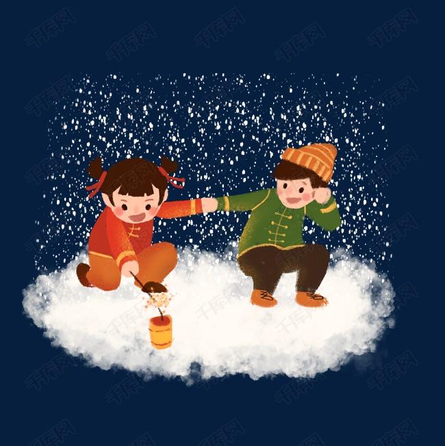 春节卡通手绘男孩女孩雪地牵手放鞭炮习俗玩耍庆祝图片
