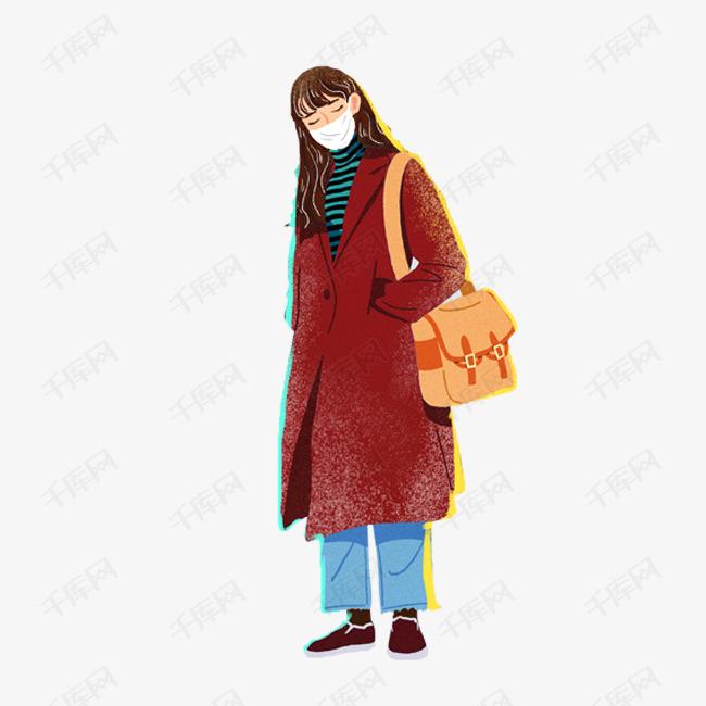 卡通手绘冬天戴口罩的女孩图片