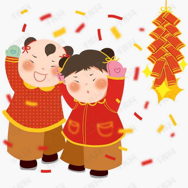 2019年手绘中国风金童玉女拜年放鞭炮