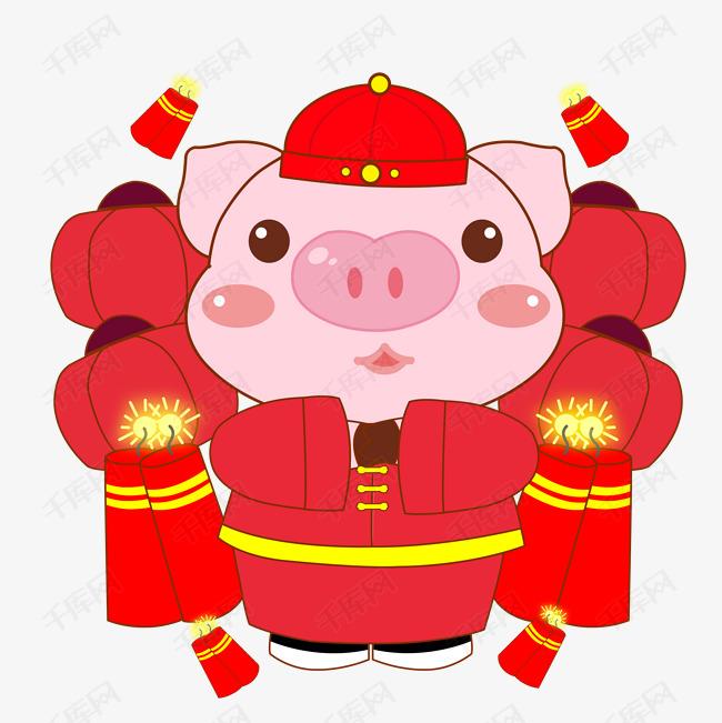 2019新春卡通手绘猪年拜年插画