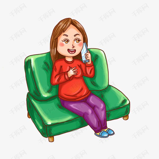 卡通手绘人物打电话少女素材图片免费下载 高清psd 千库网 图片编号11649042图片