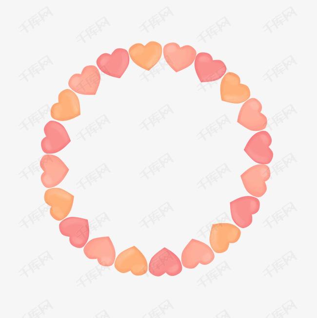 圆形爱心边框卡通手绘免费下载素材图片免费下