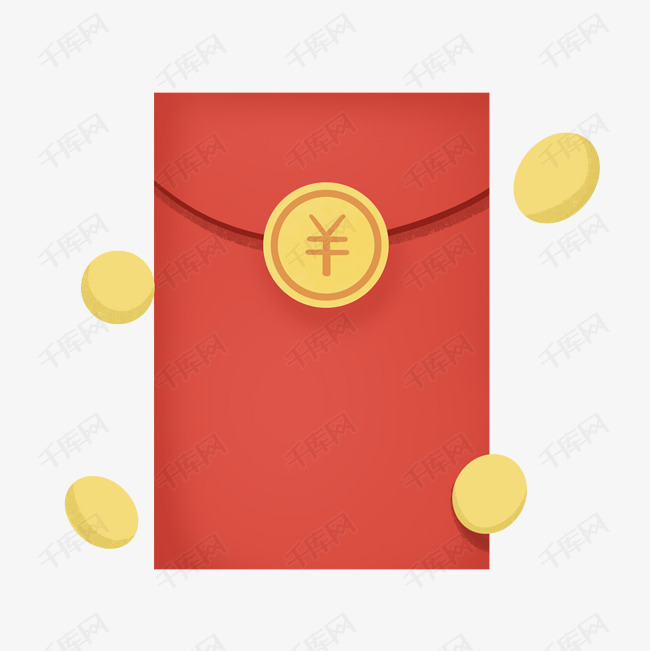 金币新年红色黄色卡通红包