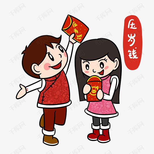 卡通新年2019春节压岁钱png透明底图片