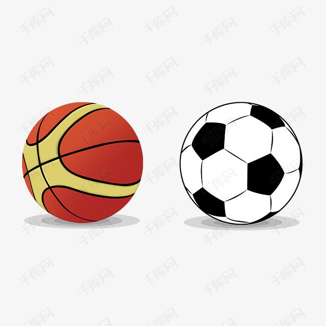 手绘篮球足球插画的素材免抠踢足球海报儿童手绘唯美插画篮球足球插