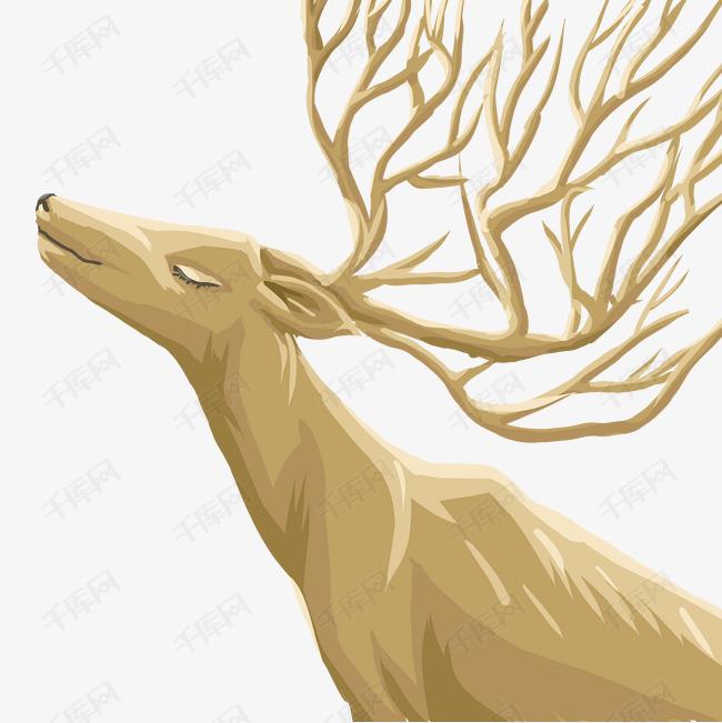 卡通木制雕花鹿免扣图图片