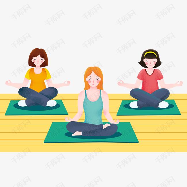 室内做瑜伽运动的人物图片