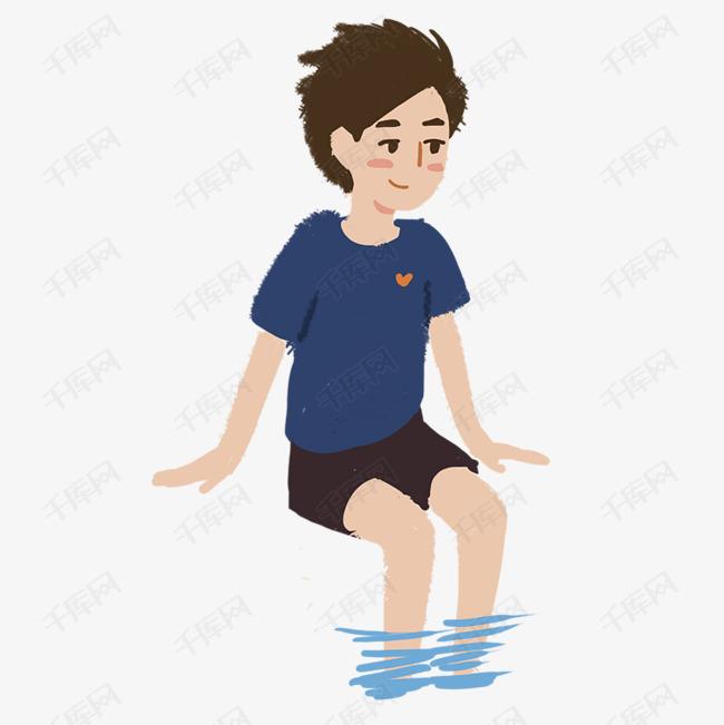 卡通玩水的可爱男孩子免抠图素材图片免费下载_高清图片