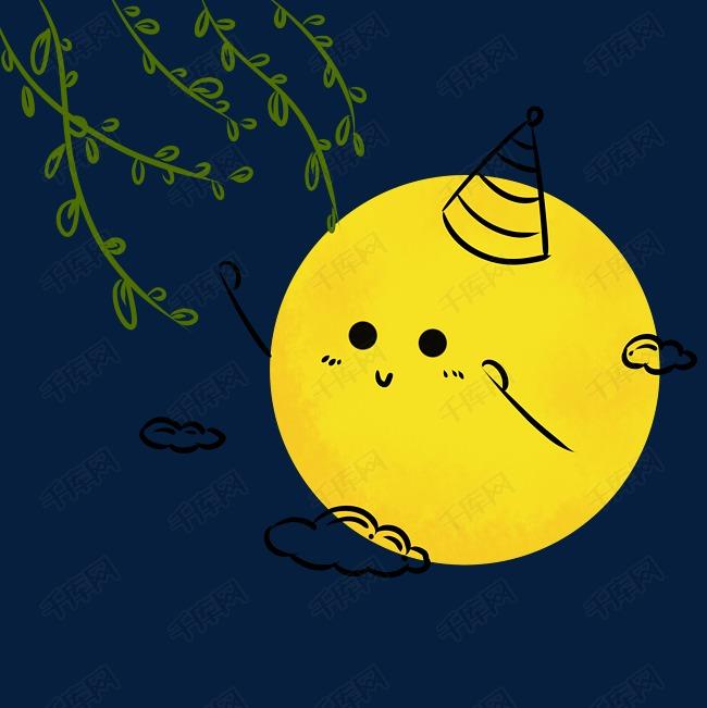 卡通可爱月亮与树枝图片